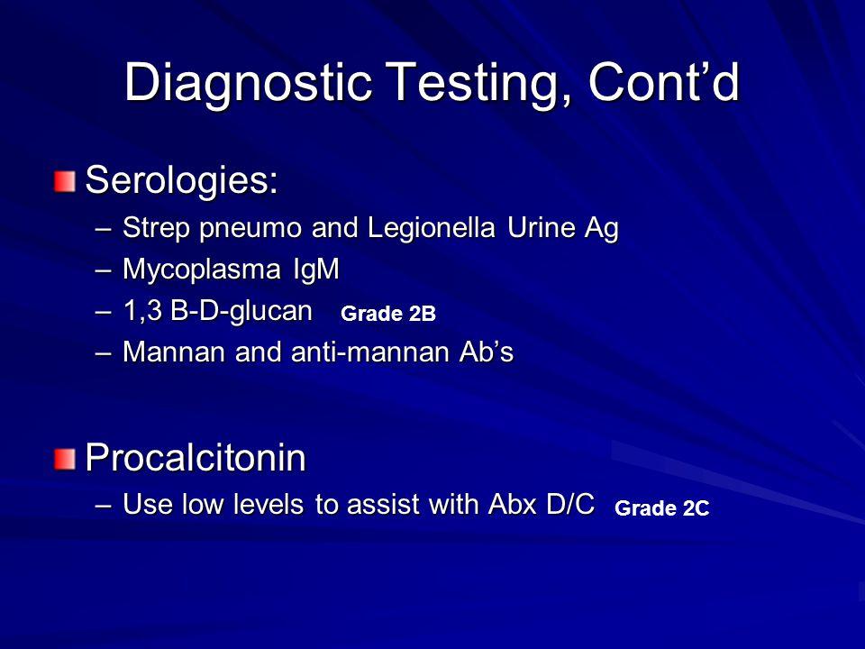 Diagnostic Testing, Cont'd Serologies: –Strep pneumo and Legionella Urine Ag –Mycoplasma IgM –1,3 B-D-glucan –Mannan and anti-mannan Ab's Procalcitoni