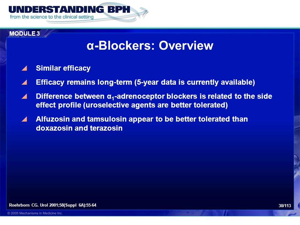 MODULE 3 30/113 α-Blockers: Overview  Similar efficacy  Efficacy remains long-term (5-year data is currently available)  Difference between α 1 -ad