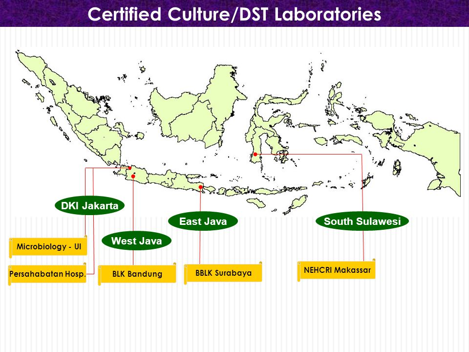 National TB Reference Laboratories Microbiology - UI NRL for research & Biomoleculer BLK Bandung NRL for Microscopic NRL for Culture/DST BBLK Surabaya