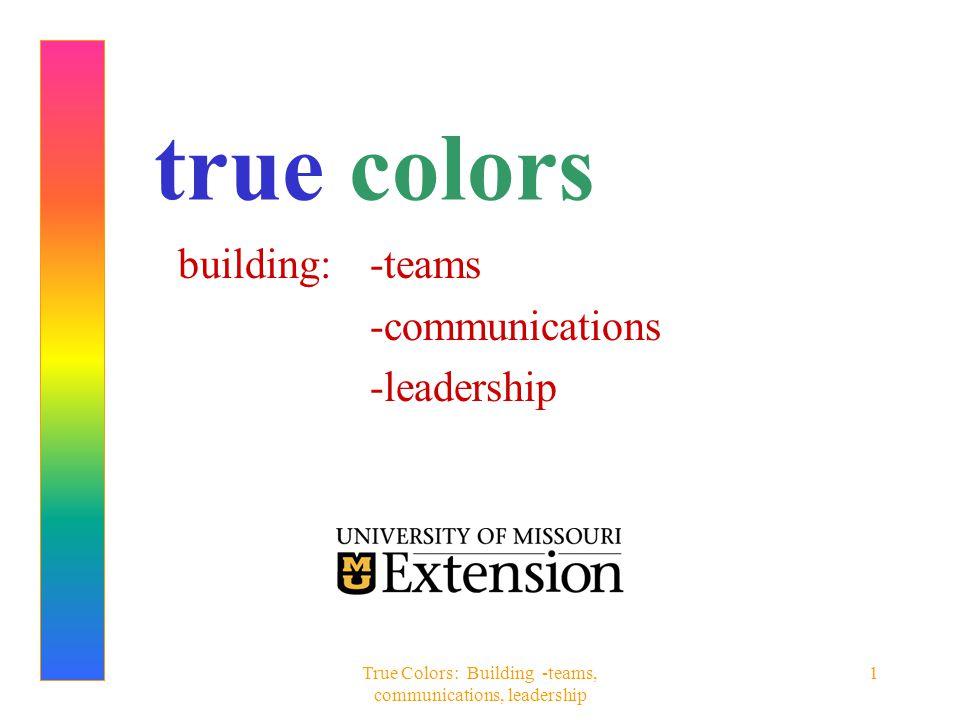 True Colors: Building -teams, communications, leadership 22 FAMOUS BLUES Mother Teresa Mozart Pope John XXII Cinderella Sigmund Freud Kevin (Wonder Years) Jimmy Carter Dorothy (Wizard of Oz) Martin Luther King, Jr.