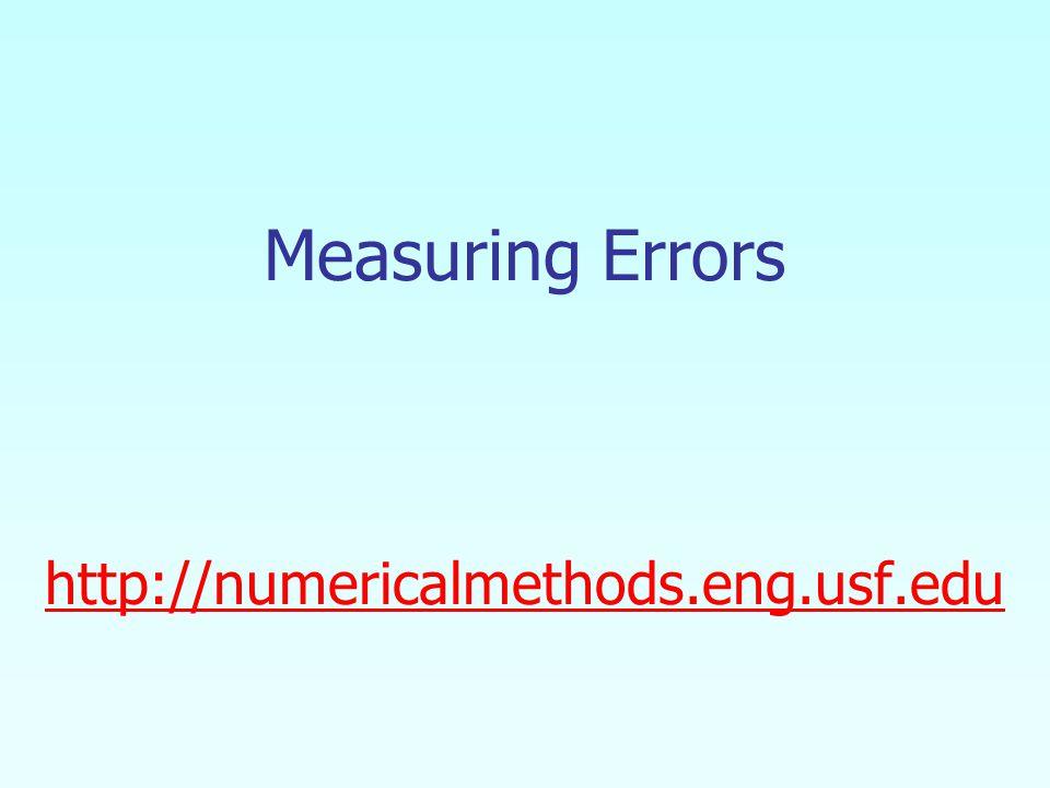 Measuring Errors http://numericalmethods.eng.usf.edu http://numericalmethods.eng.usf.edu