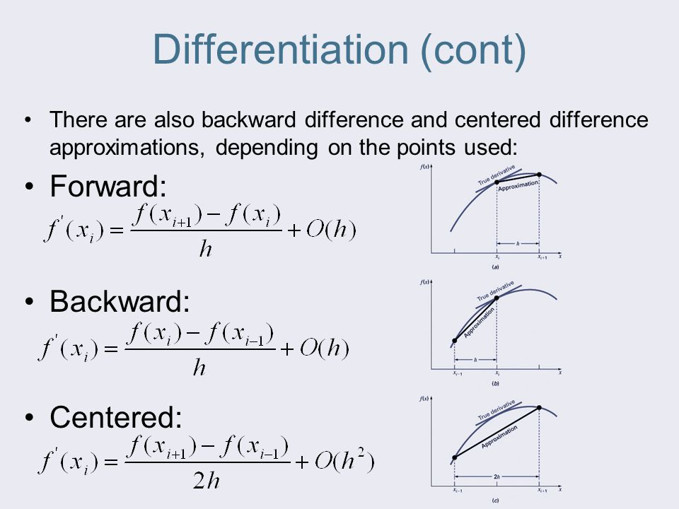 Differentiation (cont) There are also backward difference and centered difference approximations, depending on the points used: Forward: Backward: Centered:
