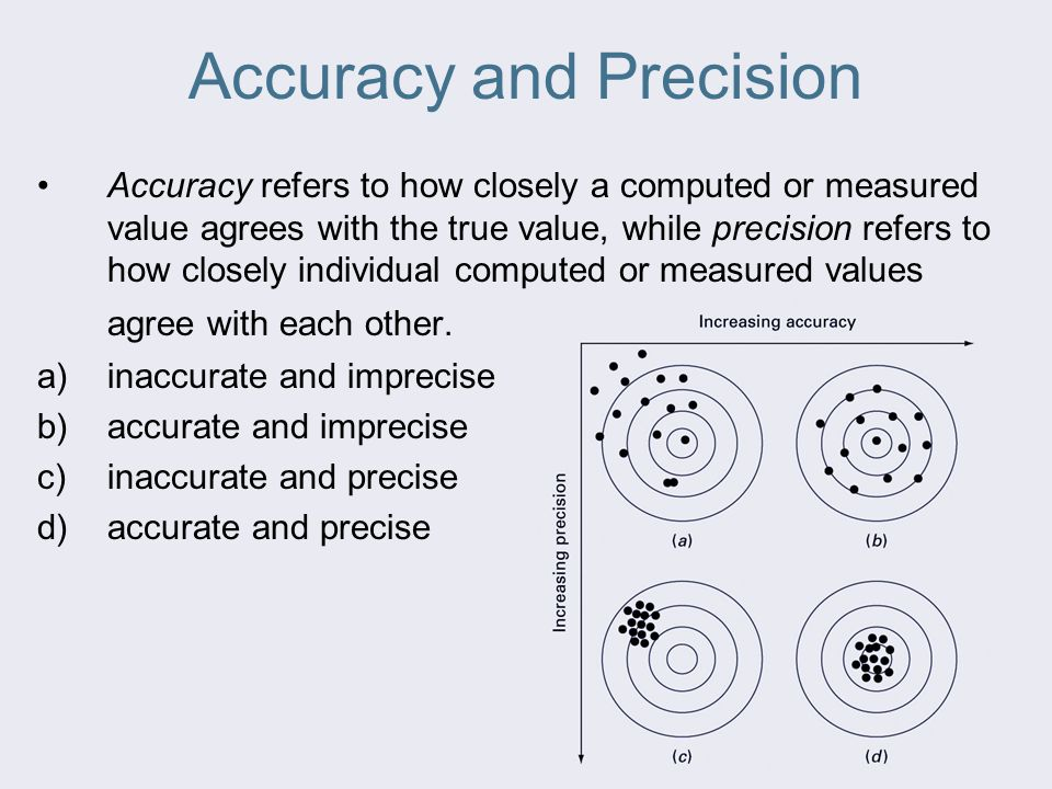 Accuracy and Precision Accuracy refers to how closely a computed or measured value agrees with the true value, while precision refers to how closely individual computed or measured values agree with each other.