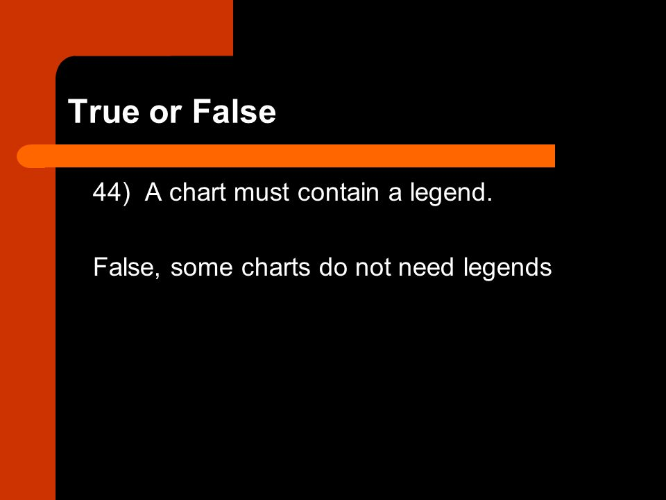 True or False 44) A chart must contain a legend. False, some charts do not need legends