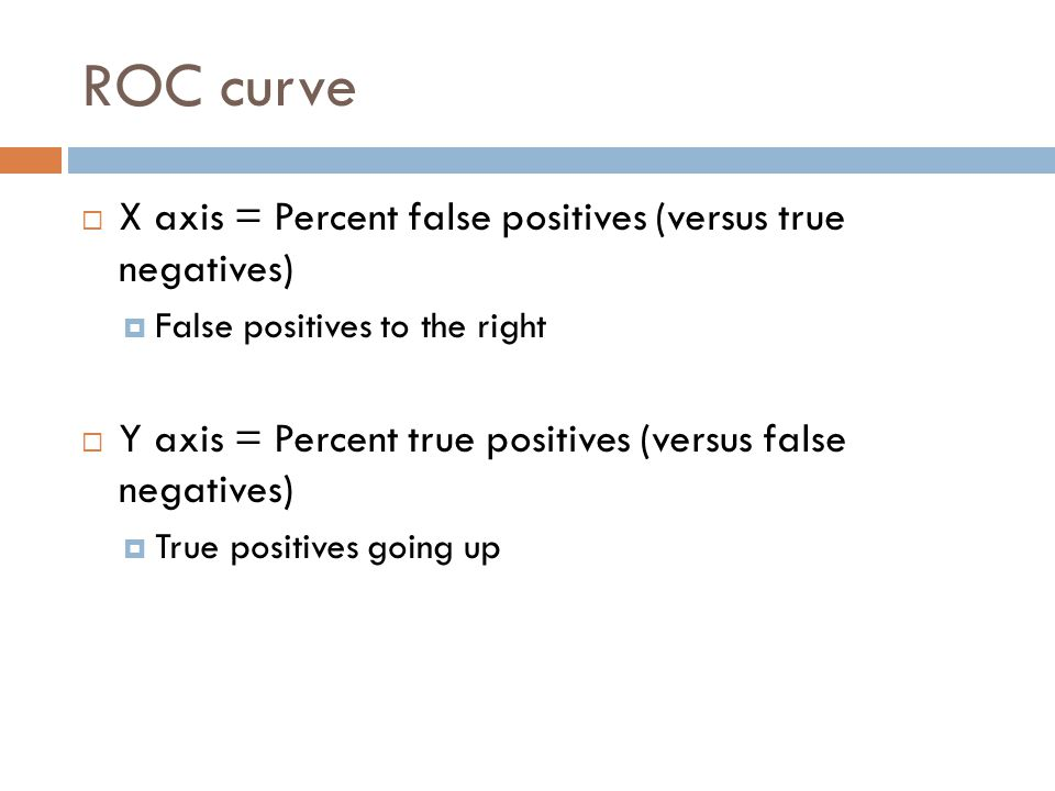ROC curve  X axis = Percent false positives (versus true negatives)  False positives to the right  Y axis = Percent true positives (versus false negatives)  True positives going up