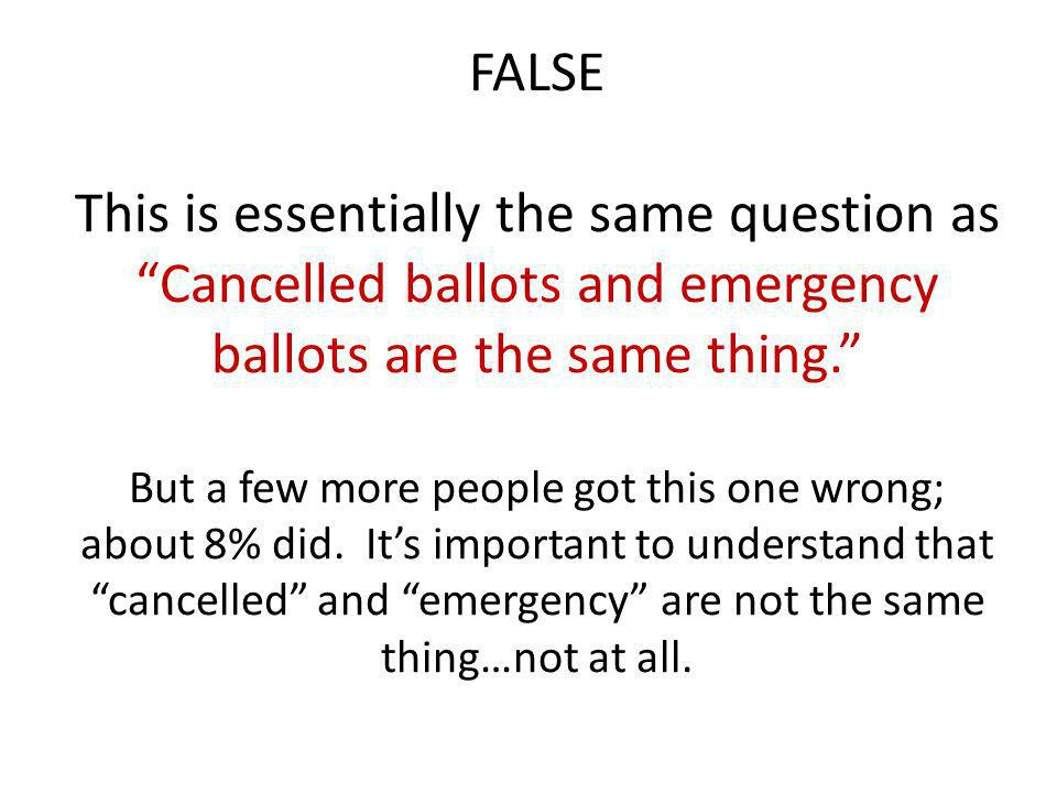 FALSE This is essentially the same question as Cancelled ballots and emergency ballots are the same thing. But a few more people got this one wrong; about 8% did.