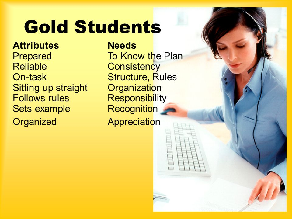 Gold Students Attributes Prepared Reliable On-task Sitting up straight Follows rules Sets example Organized Needs To Know the Plan Consistency Structure, Rules Organization Responsibility Recognition Appreciation