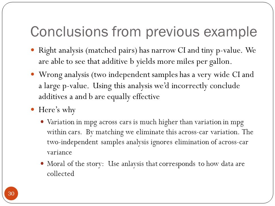 Conclusions from previous example Right analysis (matched pairs) has narrow CI and tiny p-value. We are able to see that additive b yields more miles