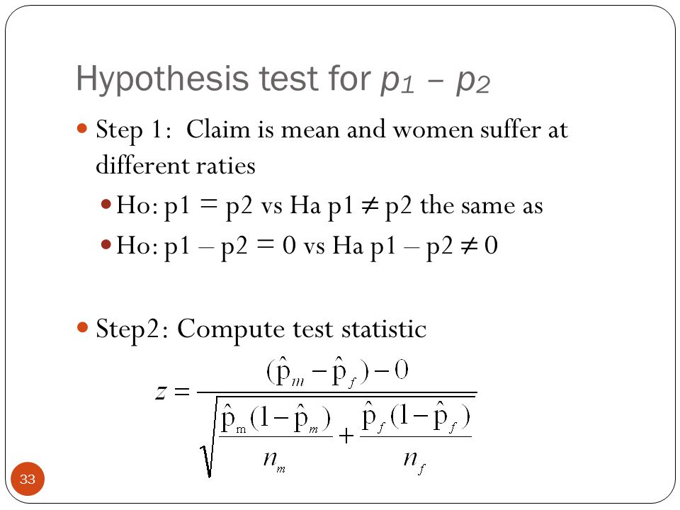 Hypothesis test for p 1 – p 2 Step 1: Claim is mean and women suffer at different raties Ho: p1 = p2 vs Ha p1 ≠ p2 the same as Ho: p1 – p2 = 0 vs Ha p
