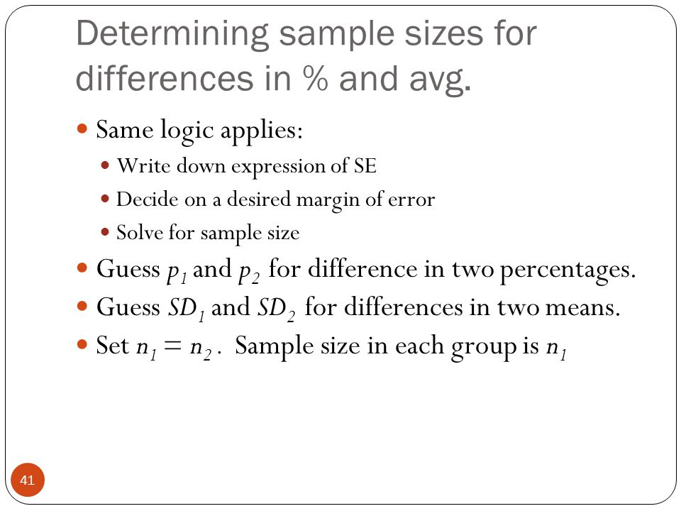Determining sample sizes for differences in % and avg. Same logic applies: Write down expression of SE Decide on a desired margin of error Solve for s
