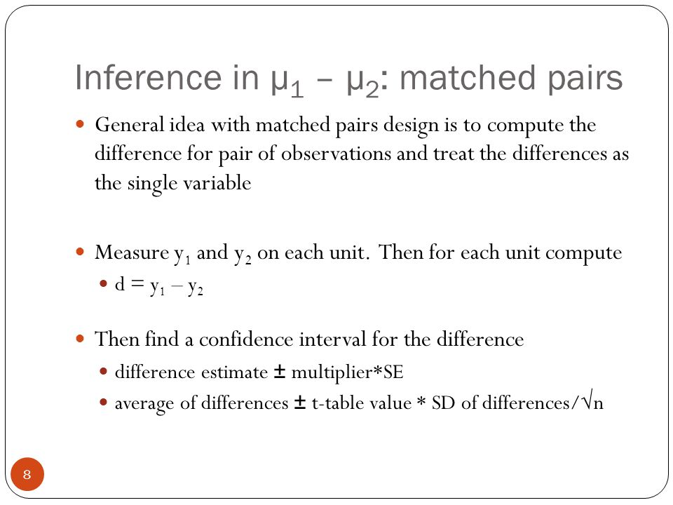 Determine sample size for differences in % and average Same logic applies Write down the expression for SE Decide on a margin of error Solve for sample size Guess P 1 and P 2 for differences in two percentages and SD 1 and SD 2 for differences in means Set n 1 = n 2 (same sample size for each group) 39