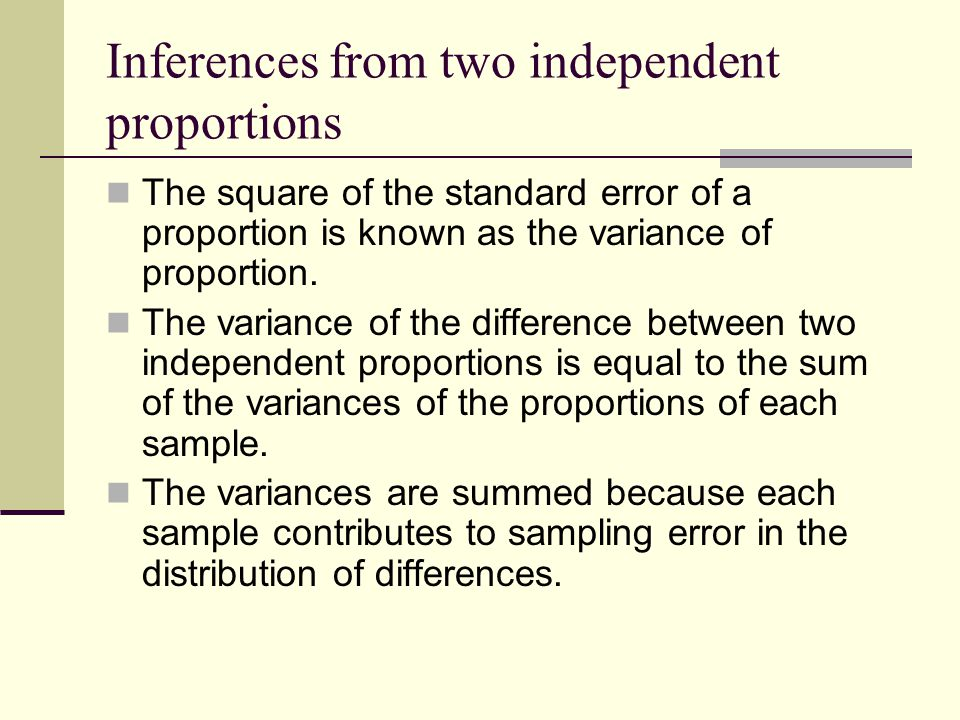 Inferences from two independent proportions The square of the standard error of a proportion is known as the variance of proportion.
