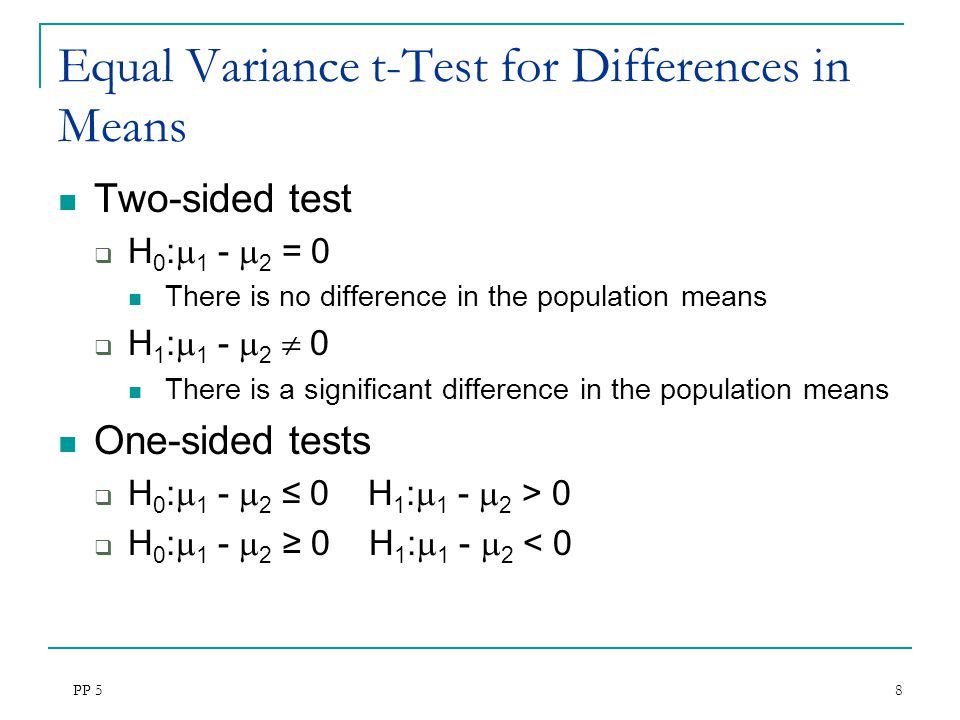 PP 5 8 Equal Variance t-Test for Differences in Means Two-sided test  H 0 :  1 -  2 = 0 There is no difference in the population means  H 1 :  1