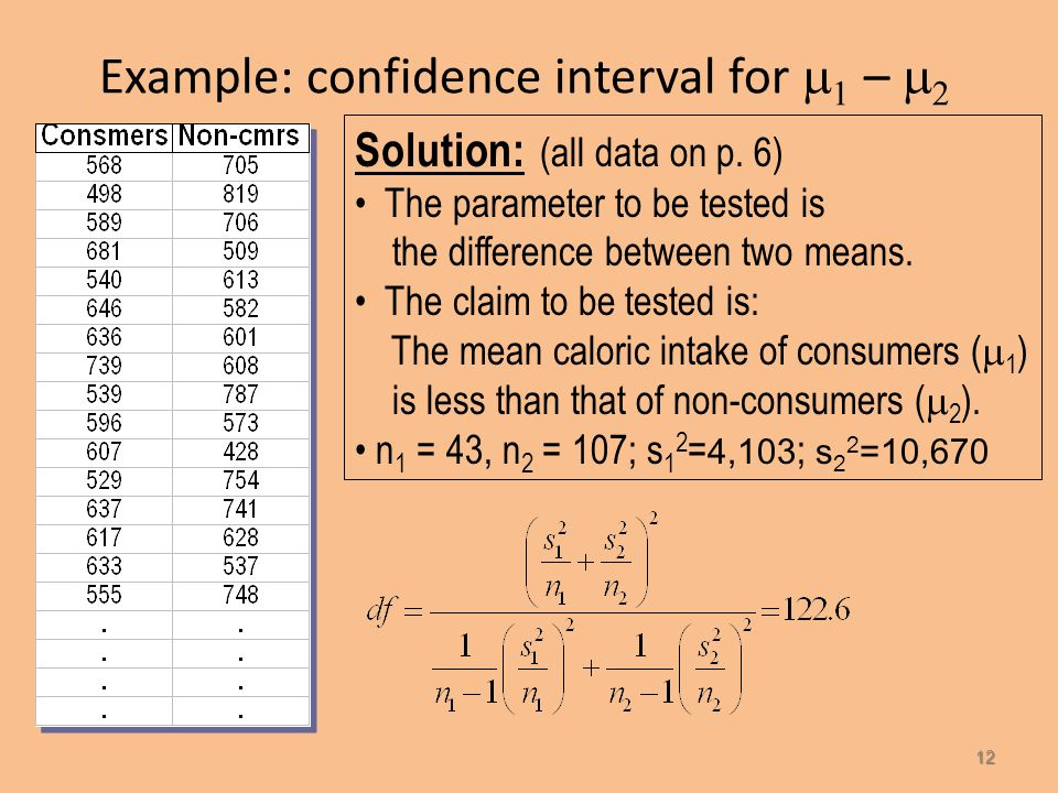 Example: confidence interval for    –   Example (p. 6) – Do people who eat high-fiber cereal for breakfast consume, on average, fewer calories f