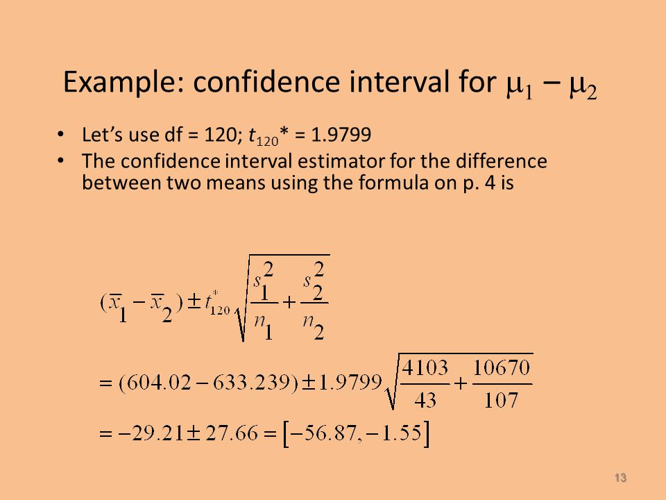Example: confidence interval for    –   12 Solution: (all data on p.