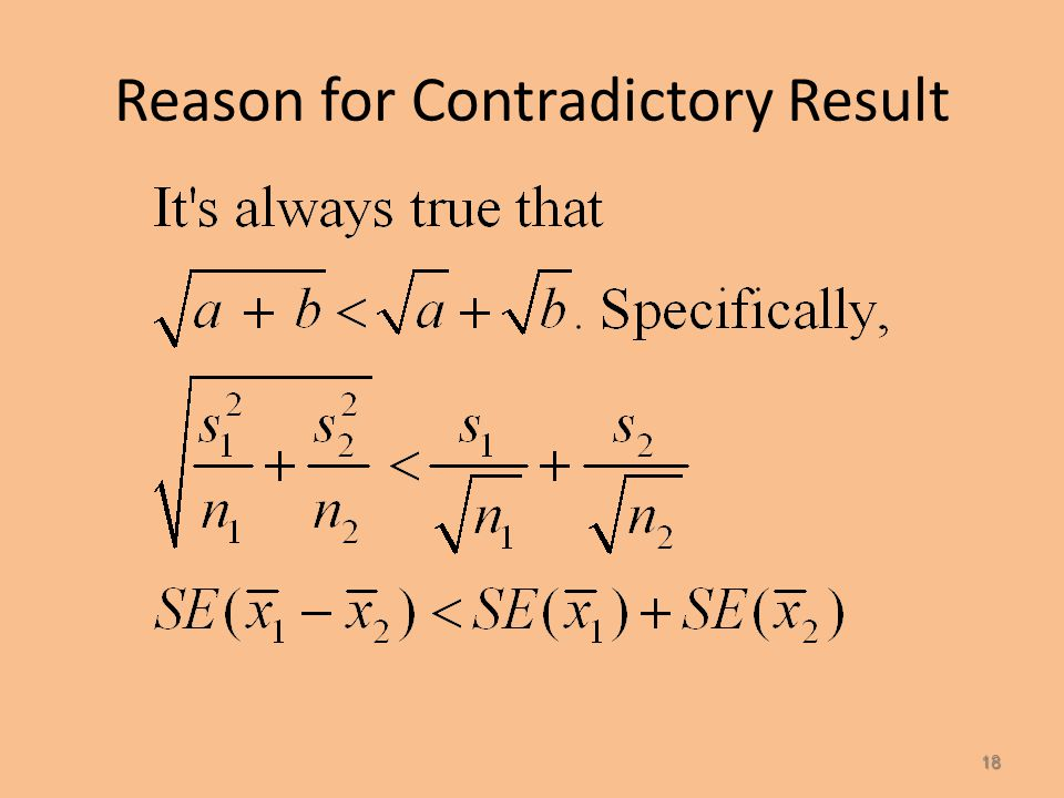 INCORRECT Two single-sample 95% confidence intervals: The confidence interval for the male mean and the confidence interval for the female mean overla