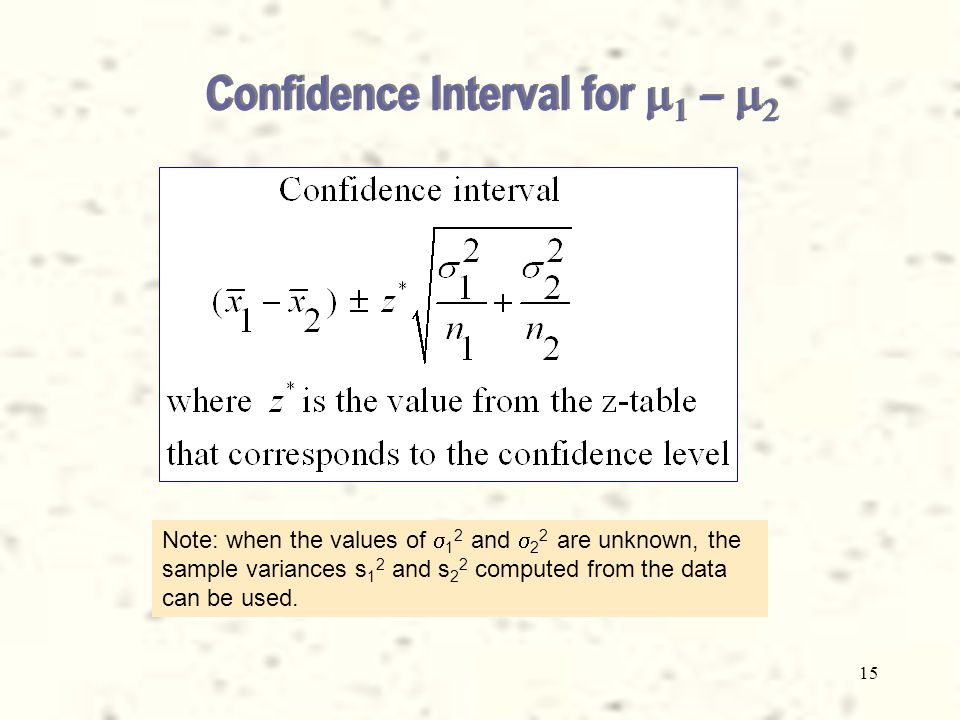 15 Confidence Interval for    –   Note: when the values of  1 2 and  2 2 are unknown, the sample variances s 1 2 and s 2 2 computed from the data can be used.