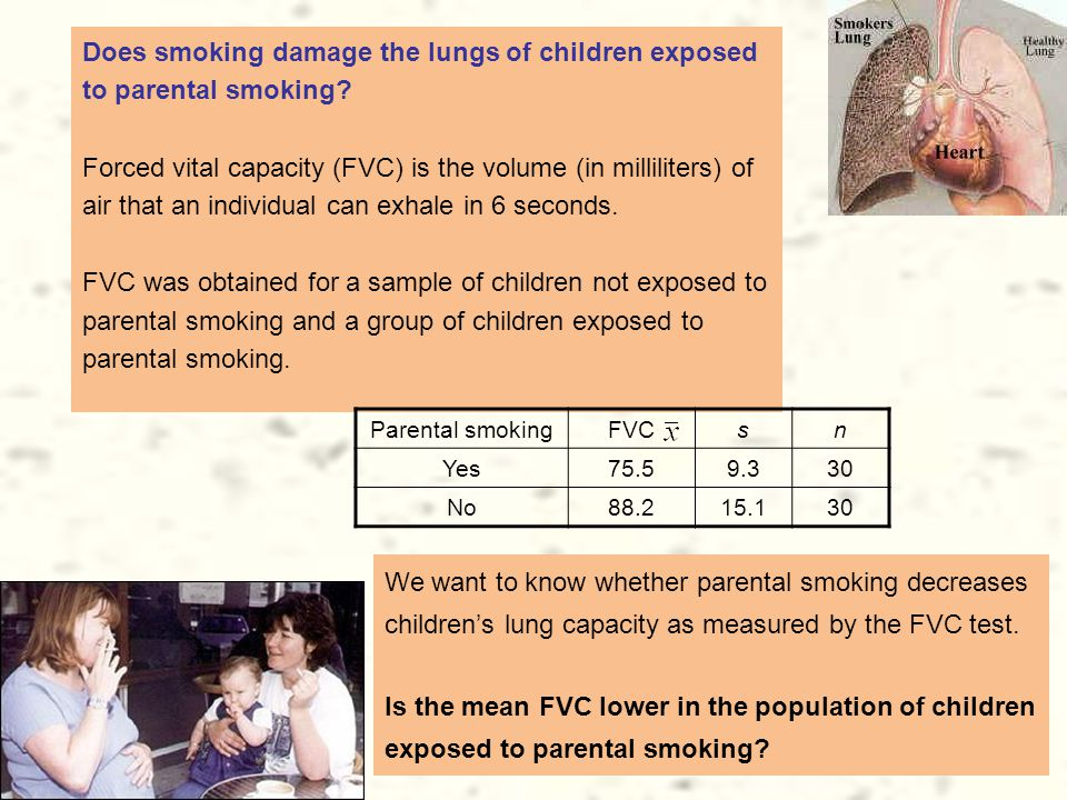 Does smoking damage the lungs of children exposed to parental smoking.