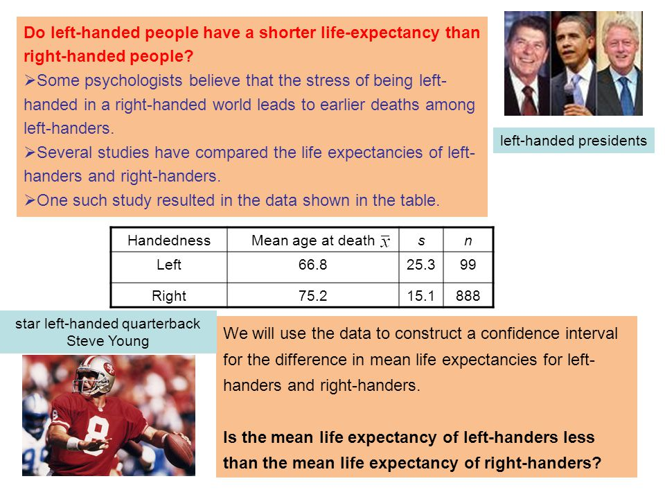 Do left-handed people have a shorter life-expectancy than right-handed people.