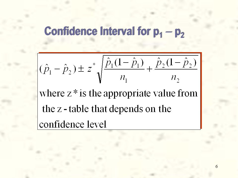 6 Confidence Interval for p 1  p 2
