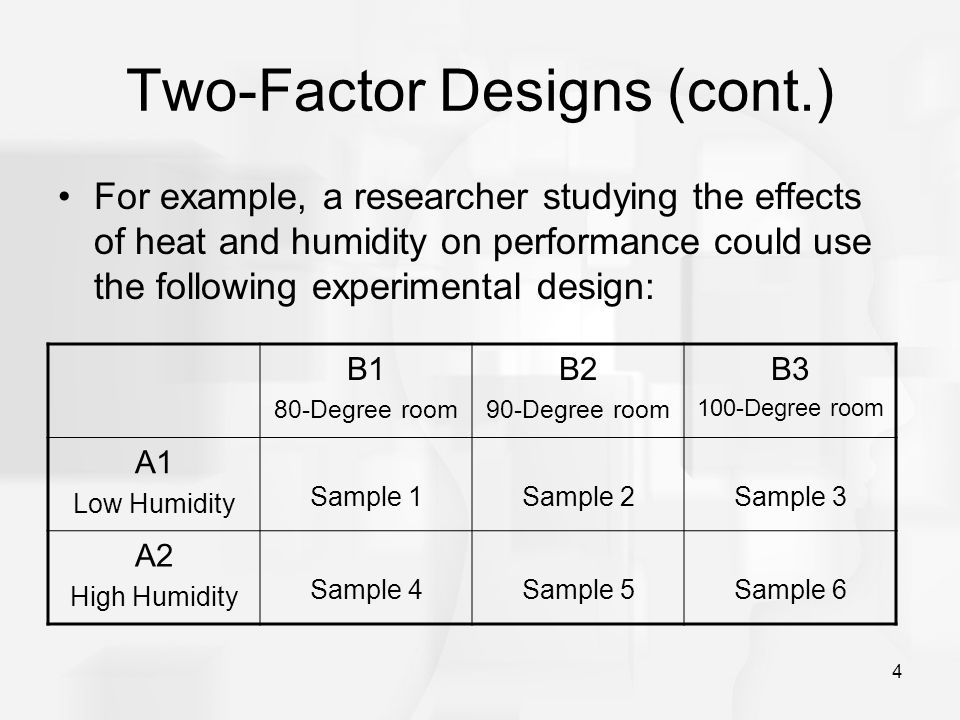 4 Two-Factor Designs (cont.) For example, a researcher studying the effects of heat and humidity on performance could use the following experimental d