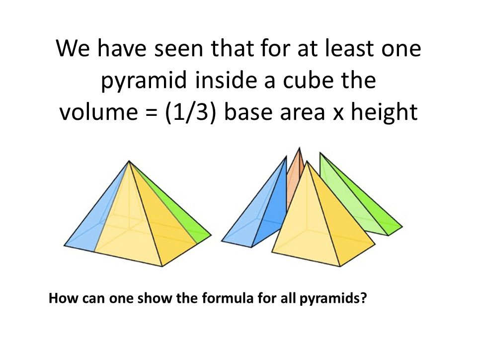 We have seen that for at least one pyramid inside a cube the volume = (1/3) base area x height How can one show the formula for all pyramids?