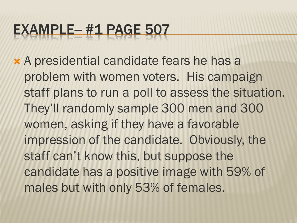  A presidential candidate fears he has a problem with women voters. His campaign staff plans to run a poll to assess the situation. They'll randomly