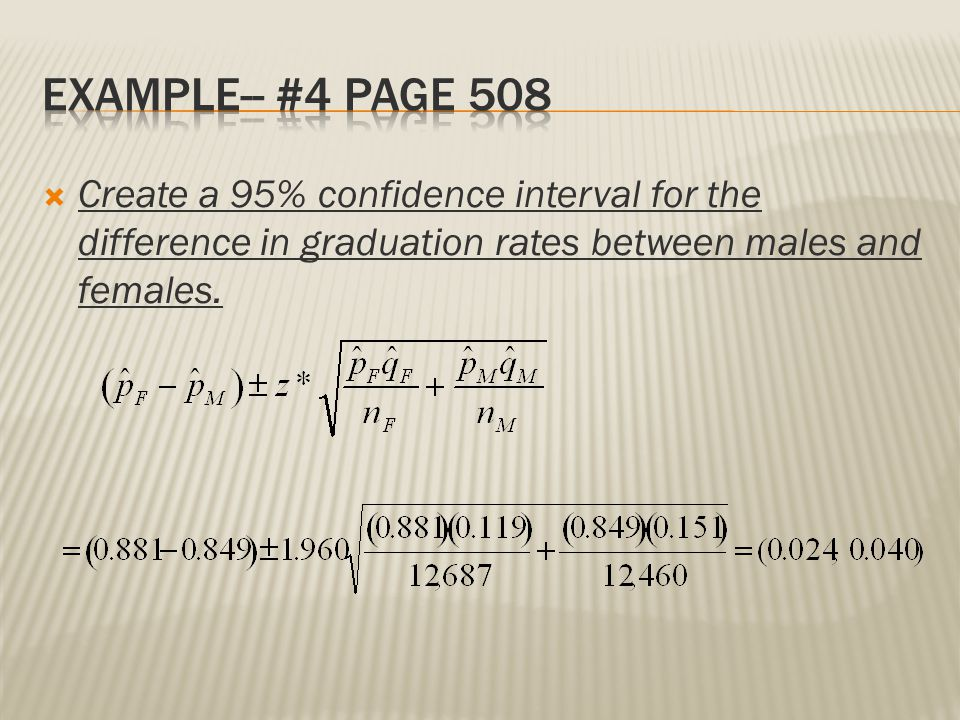  Create a 95% confidence interval for the difference in graduation rates between males and females.