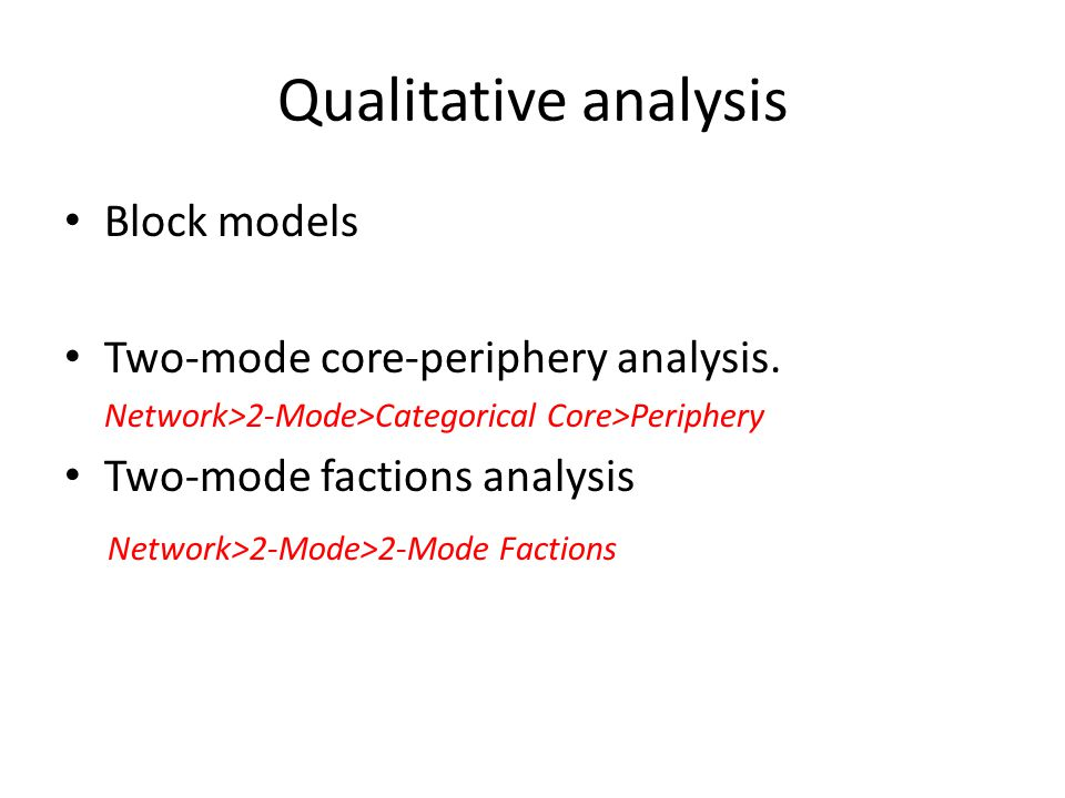 Two-mode core-periphery analysis The core is a cluster of frequently co-occurring actors and events.