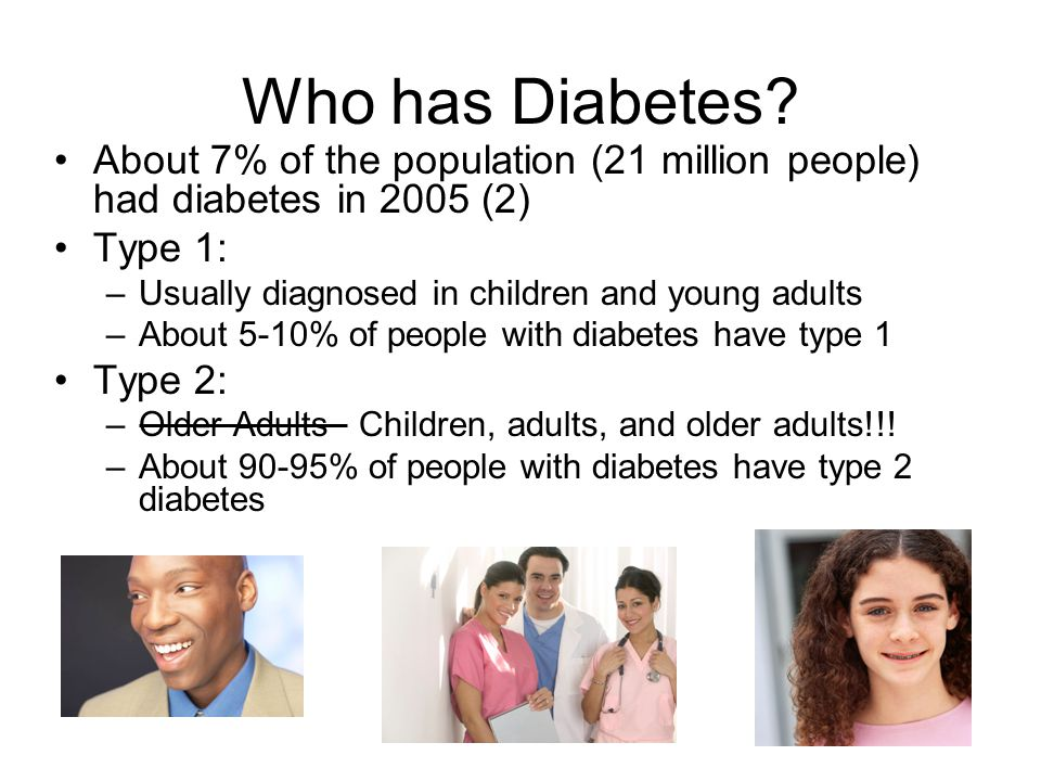 Who has Diabetes? About 7% of the population (21 million people) had diabetes in 2005 (2) Type 1: –Usually diagnosed in children and young adults –Abo
