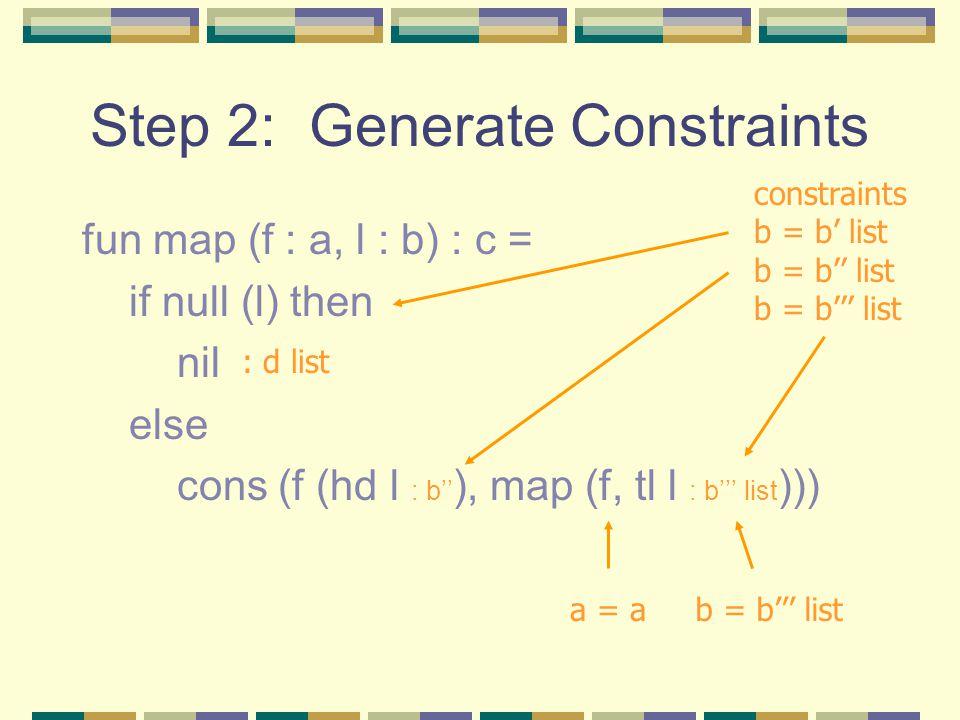 Step 2: Generate Constraints fun map (f : a, l : b) : c = if null (l) then nil else cons (f (hd l : b'' ), map (f, tl l : b''' list ))) : d list const