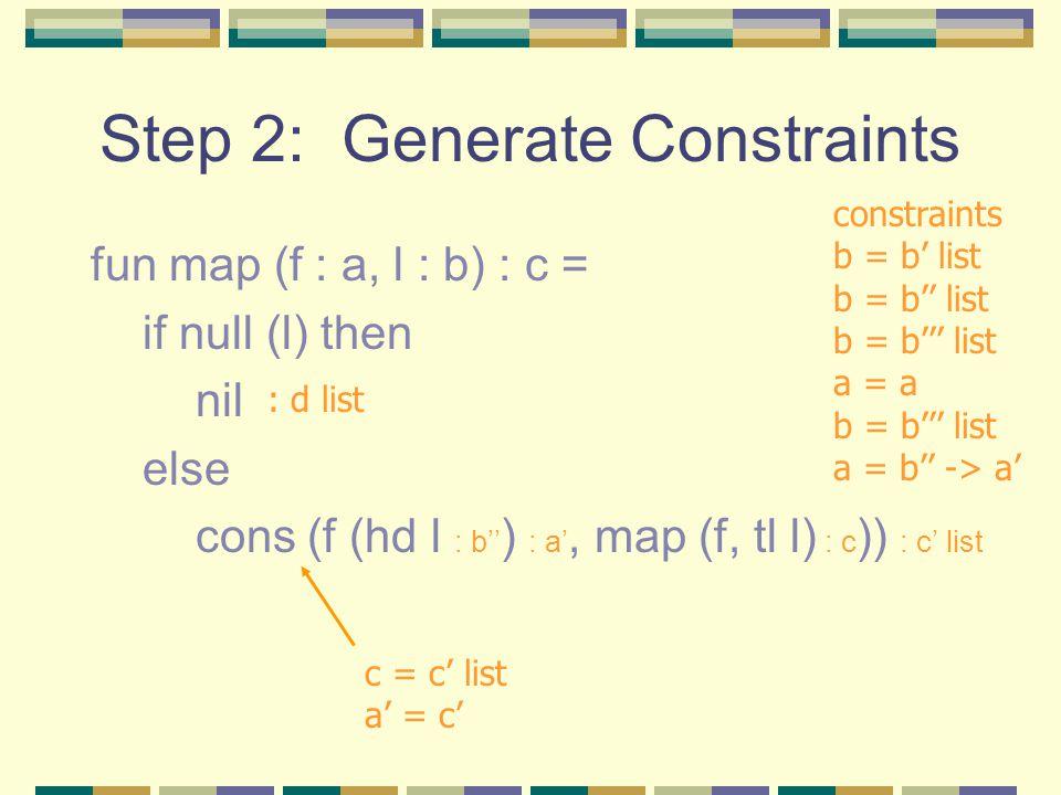 Step 2: Generate Constraints fun map (f : a, l : b) : c = if null (l) then nil else cons (f (hd l : b'' ) : a', map (f, tl l) : c )) : c' list : d list constraints b = b' list b = b'' list b = b''' list a = a b = b''' list a = b'' -> a' c = c' list a' = c'