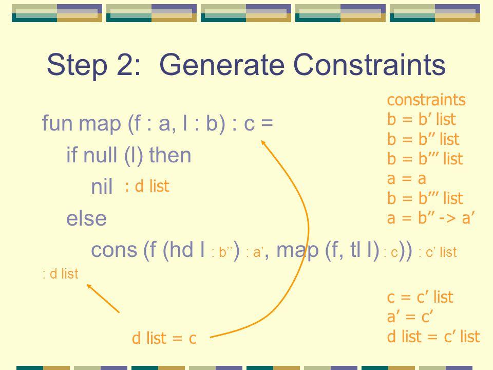Step 2: Generate Constraints fun map (f : a, l : b) : c = if null (l) then nil else cons (f (hd l : b'' ) : a', map (f, tl l) : c )) : c' list : d list constraints b = b' list b = b'' list b = b''' list a = a b = b''' list a = b'' -> a' c = c' list a' = c' d list = c' list d list = c