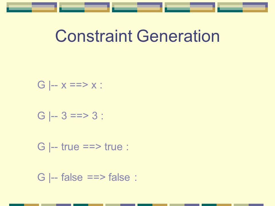 Constraint Generation G |-- x ==> x : G |-- 3 ==> 3 : G |-- true ==> true : G |-- false ==> false :