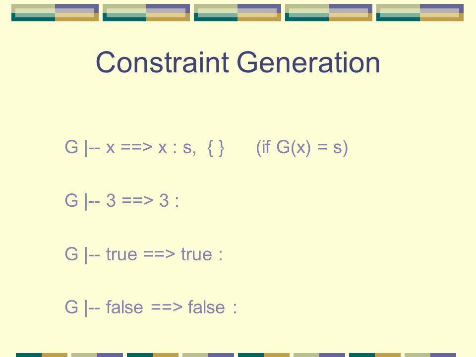 Constraint Generation G |-- x ==> x : s, { } (if G(x) = s) G |-- 3 ==> 3 : G |-- true ==> true : G |-- false ==> false :