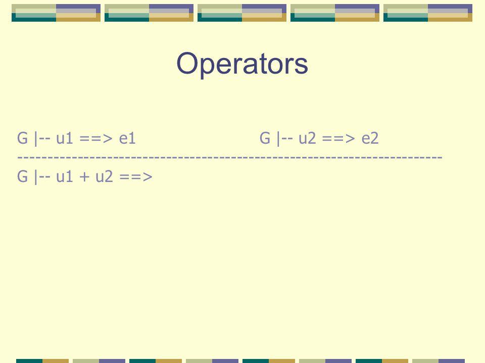 Operators G |-- u1 ==> e1 G |-- u2 ==> e2 ------------------------------------------------------------------------ G |-- u1 + u2 ==>