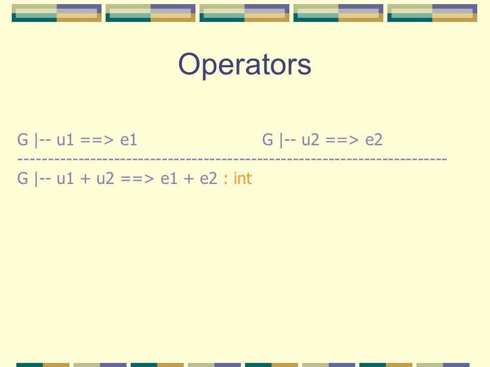 Operators G |-- u1 ==> e1 G |-- u2 ==> e2 ------------------------------------------------------------------------ G |-- u1 + u2 ==> e1 + e2 : int