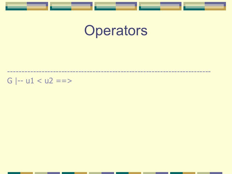 Operators ------------------------------------------------------------------------ G |-- u1