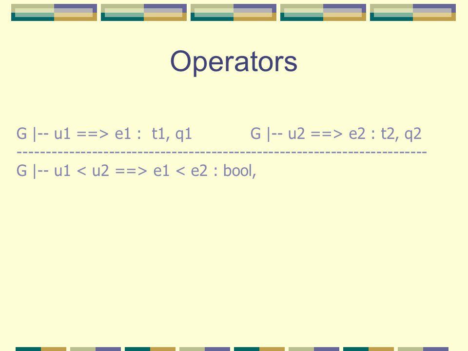 Operators G |-- u1 ==> e1 : t1, q1G |-- u2 ==> e2 : t2, q2 ------------------------------------------------------------------------ G |-- u1 e1 < e2 : bool,