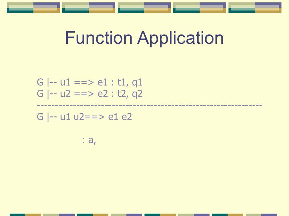 Function Application G |-- u1 ==> e1 : t1, q1 G |-- u2 ==> e2 : t2, q2 ---------------------------------------------------------------- G |-- u1 u2==> e1 e2 : a,