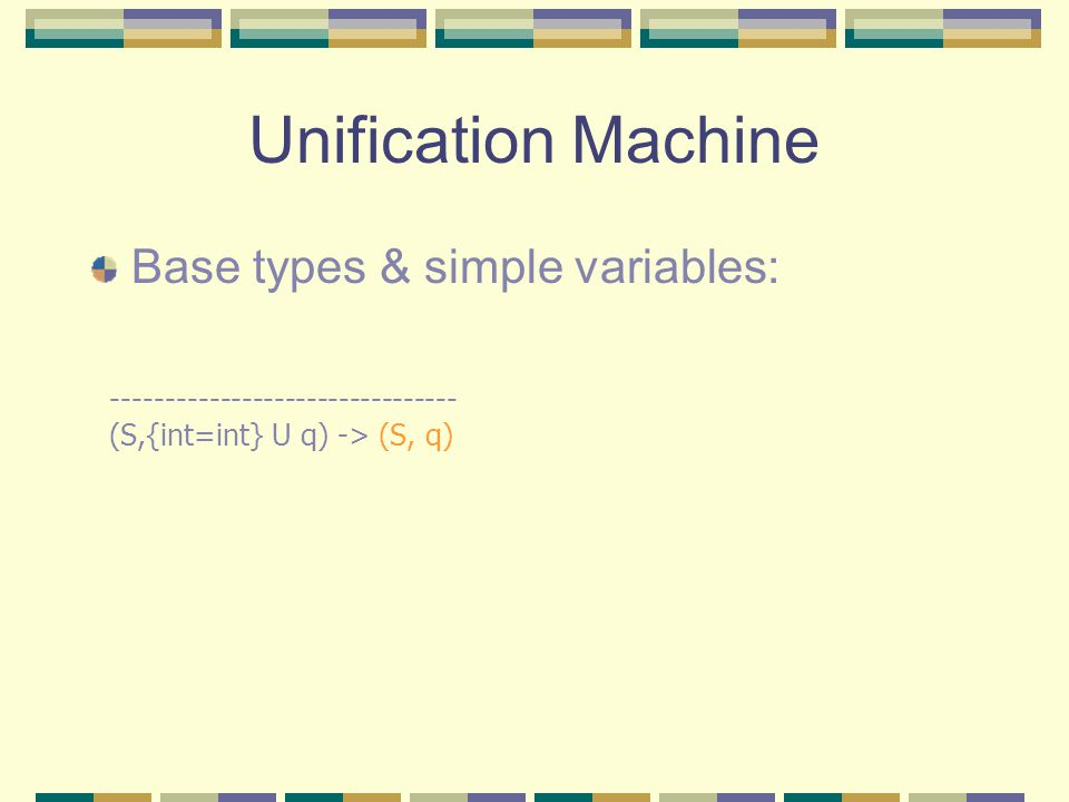 Unification Machine Base types & simple variables: -------------------------------- (S,{int=int} U q) -> (S, q)