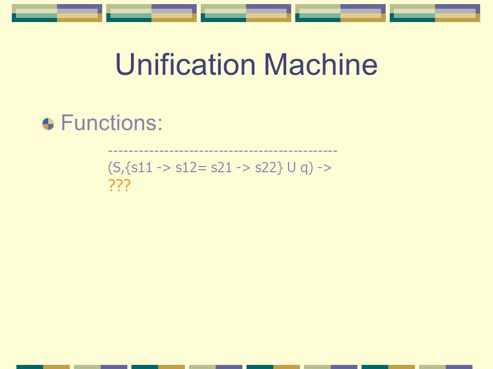 Unification Machine Functions: ---------------------------------------------- (S,{s11 -> s12= s21 -> s22} U q) -> ???