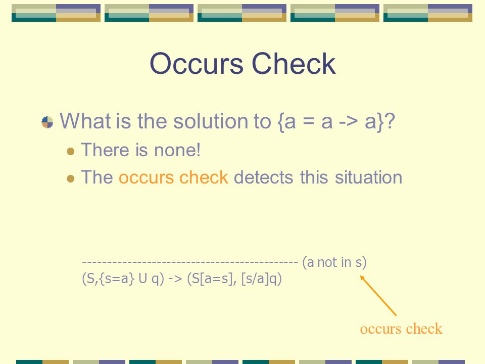 Occurs Check What is the solution to {a = a -> a}.