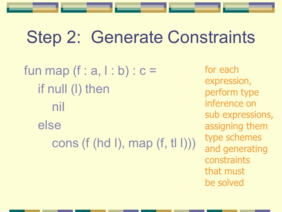 Step 2: Generate Constraints fun map (f : a, l : b) : c = if null (l) then nil else cons (f (hd l), map (f, tl l))) for each expression, perform type inference on sub expressions, assigning them type schemes and generating constraints that must be solved