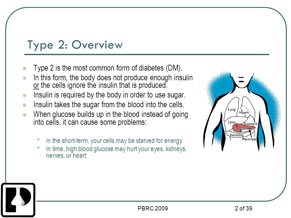 PBRC 2009 13 of 39 Symptoms of Hyperglycemia High blood glucose High levels of sugar in the urine Frequent urination Increased thirst It is important to monitor blood glucose levels frequently.
