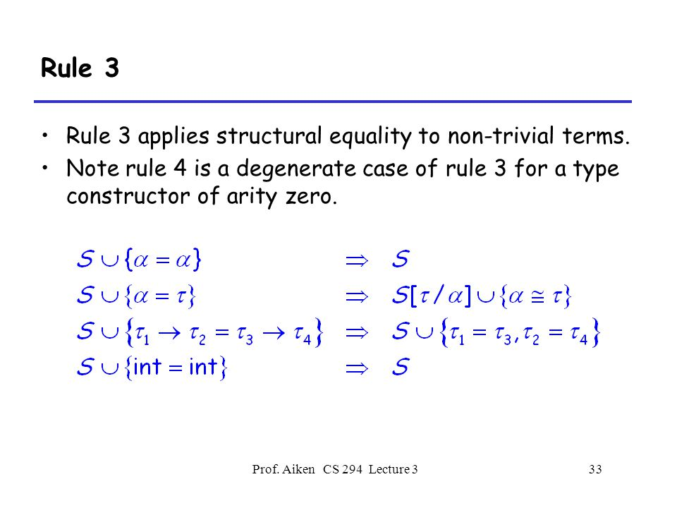 Prof. Aiken CS 294 Lecture 333 Rule 3 Rule 3 applies structural equality to non-trivial terms.
