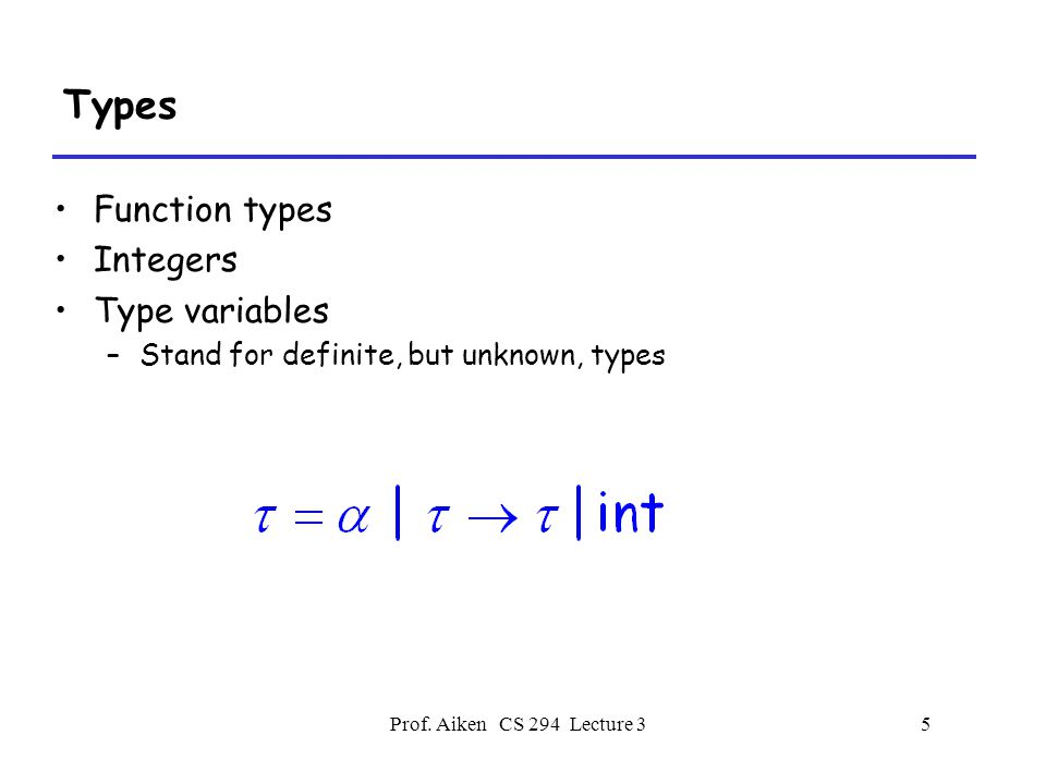 Prof.Aiken CS 294 Lecture 36 Function Types Intuitively, a type  1 .