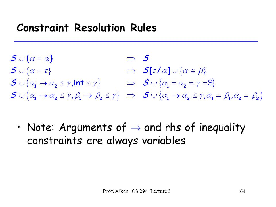 Prof. Aiken CS 294 Lecture 364 Constraint Resolution Rules Note: Arguments of .