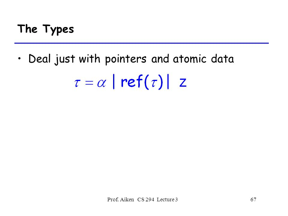 Prof. Aiken CS 294 Lecture 367 The Types Deal just with pointers and atomic data