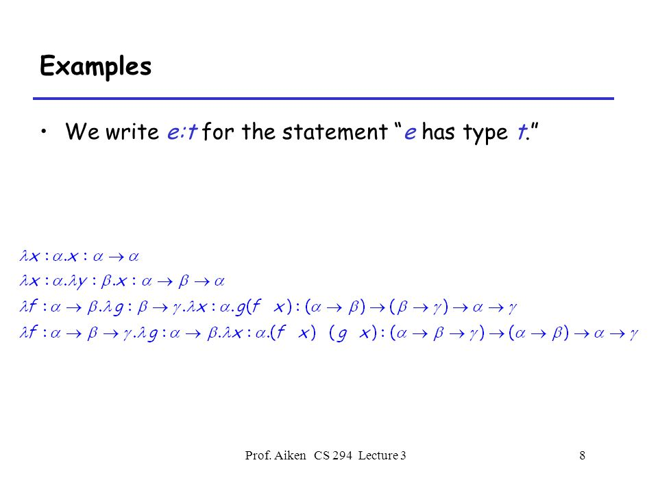 Prof.Aiken CS 294 Lecture 379 Where is Type Inference Weak.